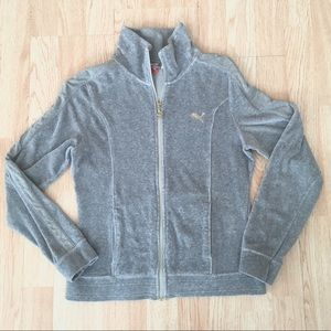 Puma Grey / Gold Velour Full Zip Jacket Sweatshirt